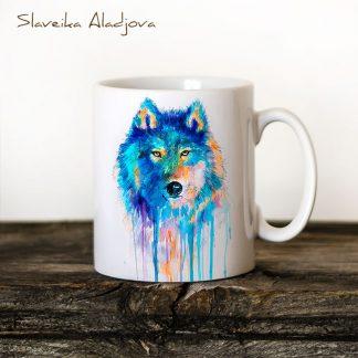 Чаша акварел син вълк