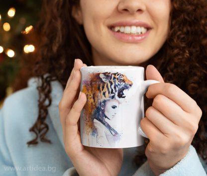 чаша жена с тигър художник Славейка Аладжова