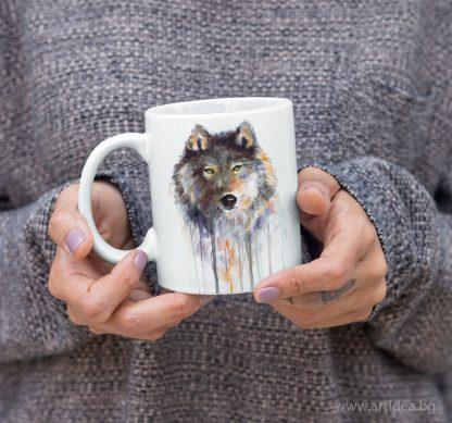 Чаша вълк кафяв – художник Славейка Аладжова