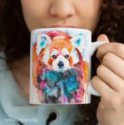 чаша червена панда художник Славейка Аладжова