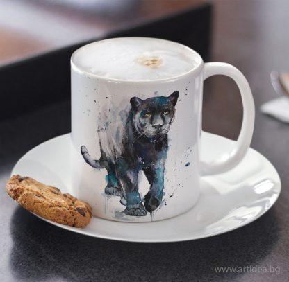 Чаша черна пантера - художник Славейка Аладжова