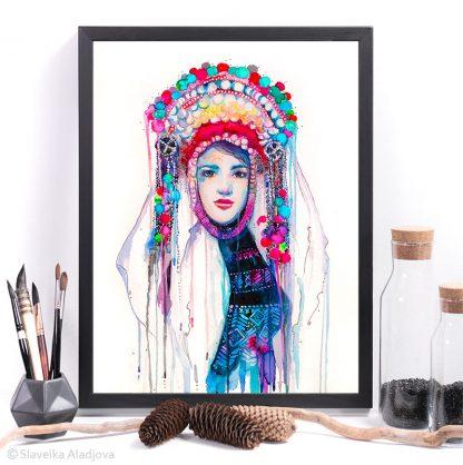 Българска мома, картина с носия