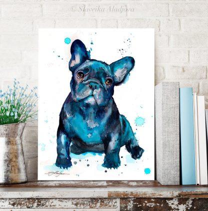 Картина с Френски булдог. Избери оргинален подарък за любители на кучета. Подари картина с куче - художник Славейка Аладжова