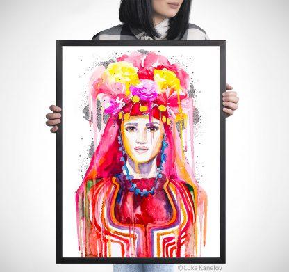 Картина с мома с българска носия
