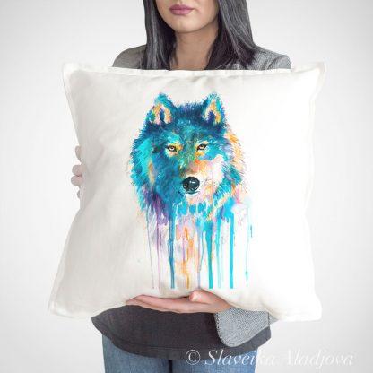 Декоративна възглавница син вълк