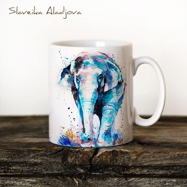 Чаша Азиатски слон - художник Славейка Аладжова