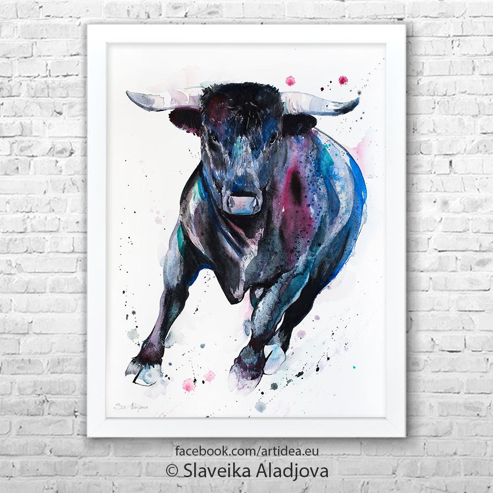 Картина на черен бик