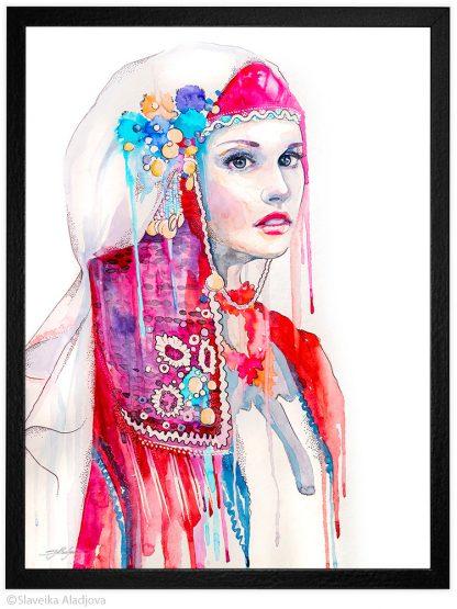 Традиционна българска картина с мома с носия