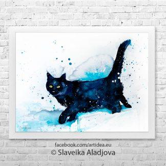 Картина черна котка