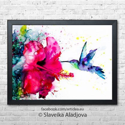 Картина колибри с китайска роза