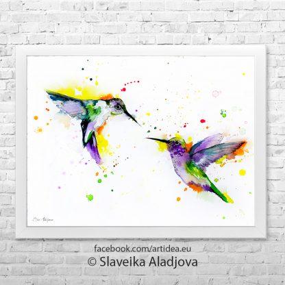 картина на колибри двойка