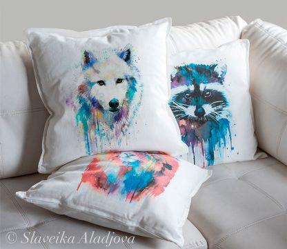 възглавница вълк бял