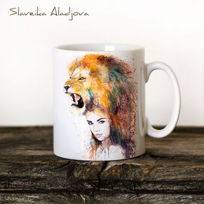 Чаша Жена лъв - художник Славейка Аладжова