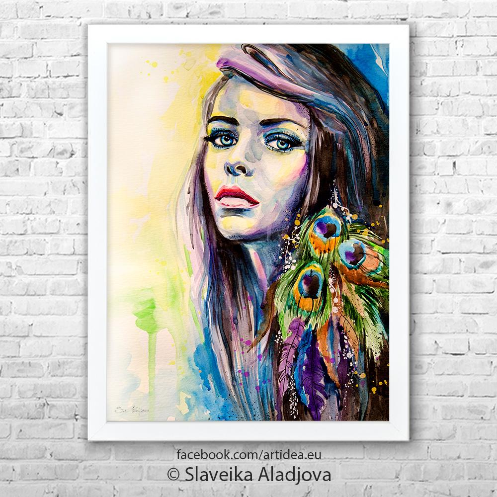 Картина жена с паунови пера