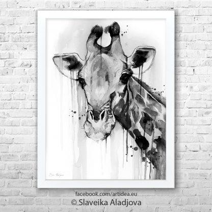 Картина черно бял жираф