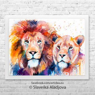 картина семейсто лъвове