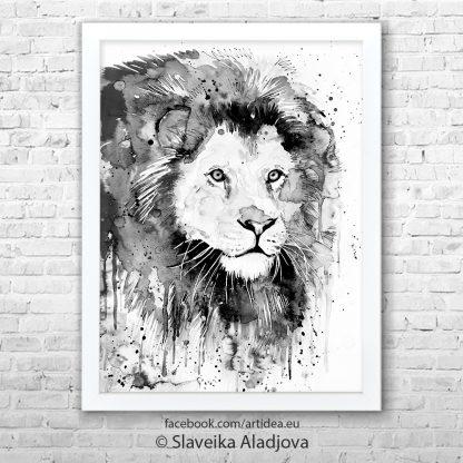 Картина черно бял лъв