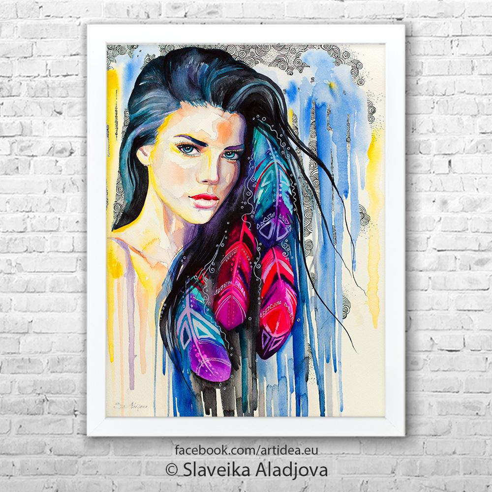 Картина на жена с червени пера