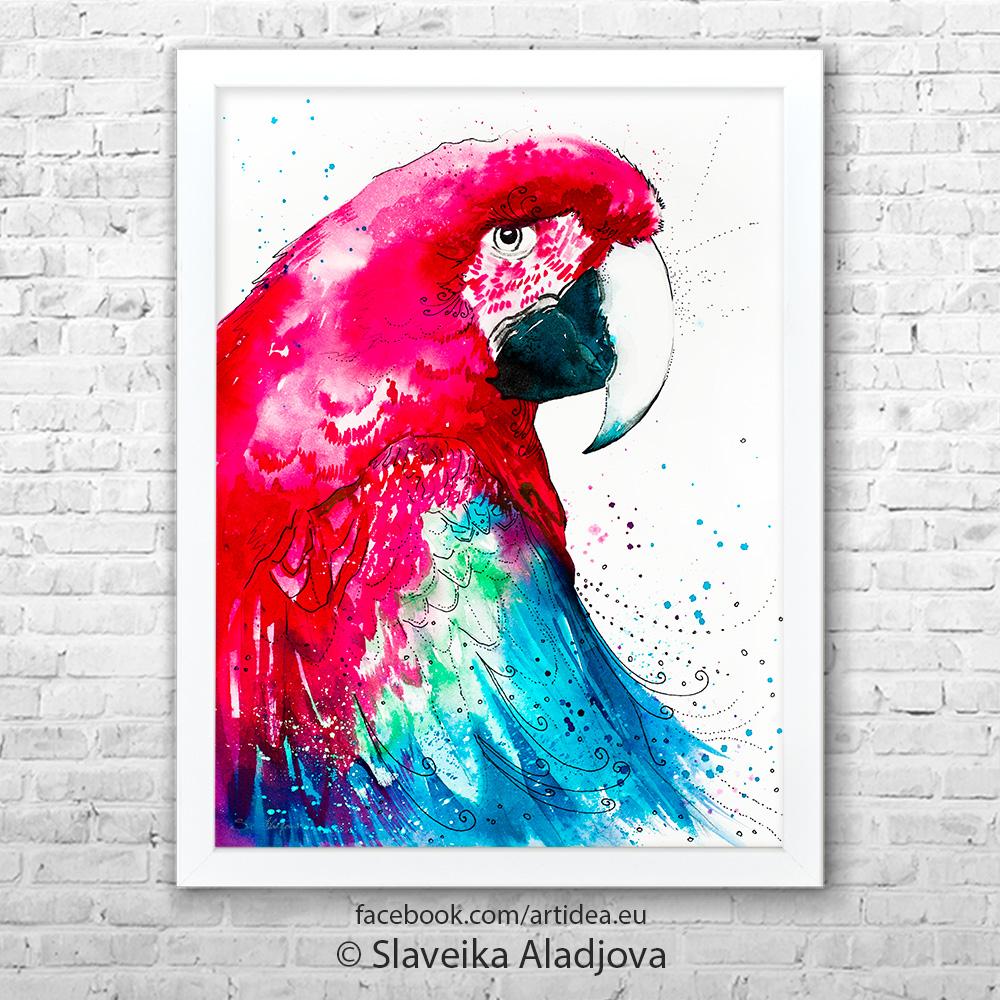 Картина червен папагал