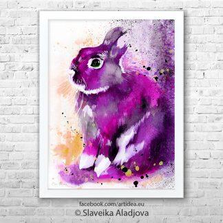 Картина розов заек