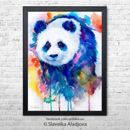 картина синя панда
