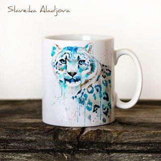 Чаша Снежен леопард - художник Славейка Аладжова