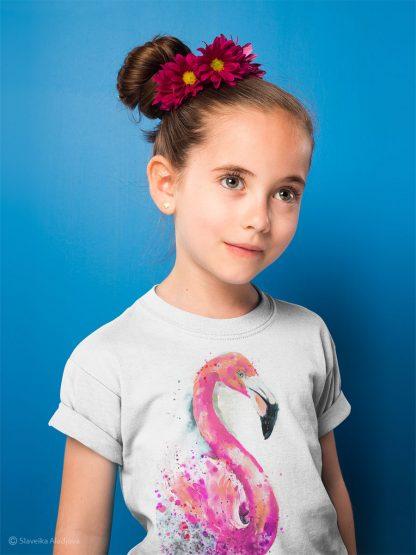 Детска тениска розово фламинго