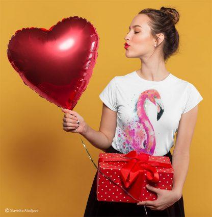 Дамска тениска розово фламинго