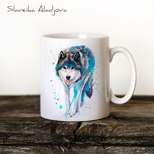 Чаша син ходещ вълк - художник Славейка Аладжова