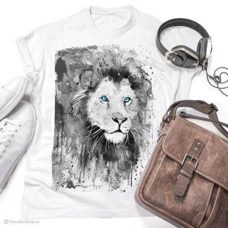 Тениска с лъв черно-бял