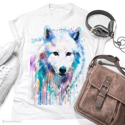 тениска с вълк бял