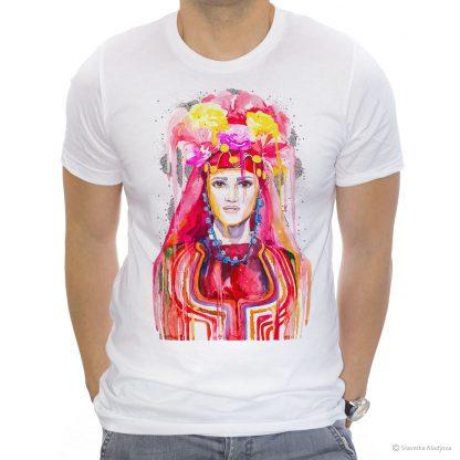 Тениска с тракийска мома. Фолклорен мотив