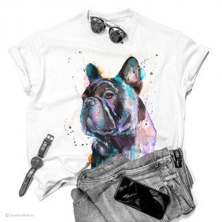 Тениска с черен френски булдог