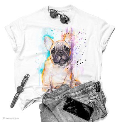 Тениска с френски булдог пясъчен