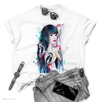 Тениска с жена с кълвачи