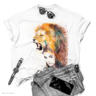 Тениска с жена с лъв