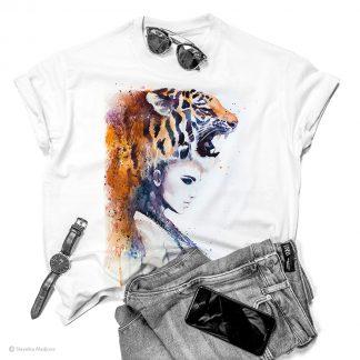 Тениска с жена с тигър