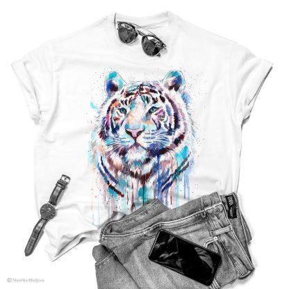 Тениска с бял тигър