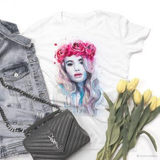 Тениска с жена с корона от рози