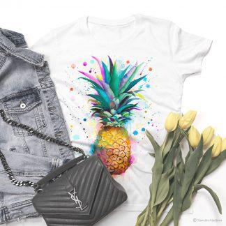 Тениска с принт ананас