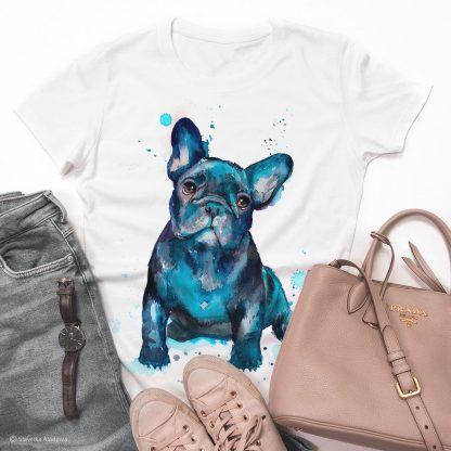 Унисекс тениска с куче френски булдог