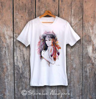 мъжка тениска жена с пера
