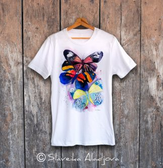 мъжка тениска с пеперуди