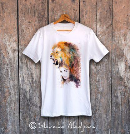 мъжка тениска жена с лъв