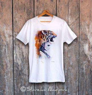 мъжка тениска жена с тигър