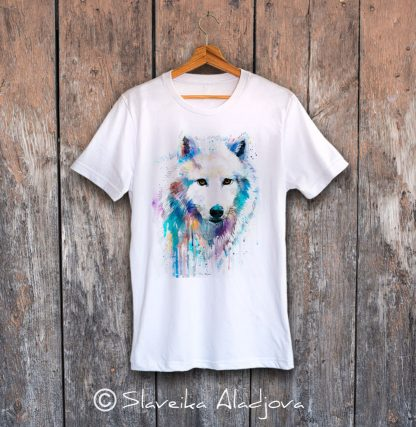 мъжка тениска вълк бял