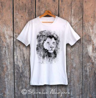 мъжка тениска лъв черно бял
