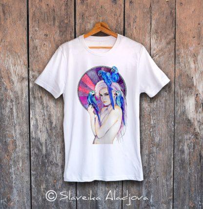 мъжка тениска жена с папагали