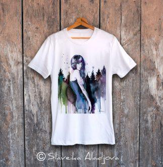 мъжка тениска планинска жена