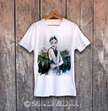 мъжка тениска планинска жена 2